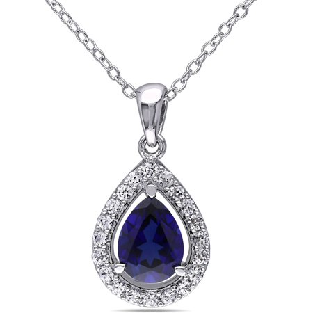 Created Blue Sapphire Pendant (2-1/5 Carat T.G.W. Created Blue and White Sapphire Sterling Silver Teardrop Pendant, 18