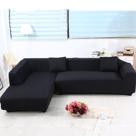 Sofa Covers for L Shape, 2pcs Polyester Fabric Stretch Slipcovers + 2pcs  Pillow Covers for Sectional sofa L-shape Couch - Solid Color Black