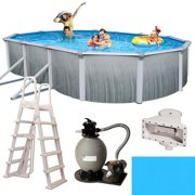 Blue Wave Martinique Oval 52-in Deep 7-in Top Rail Metal Wall Swimming Pool Package