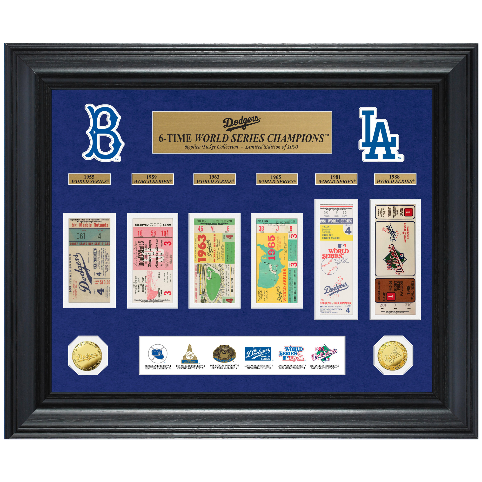 "Los Angeles Dodgers Highland Mint 24"" x 20"" 6-Time World Series Champions Deluxe Coin & Ticket Collection Photo Mint - No Size"