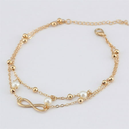 Real Pearl Bracelet - Infinity Love Womens Beauty Jewelry Pearl Charms Anklet Ankle Chain Bracelet (Gold)