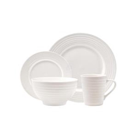 16 Piece Centrus White Porcelain Dinnerware Set With Ribbed Lined Trim  Service For 4