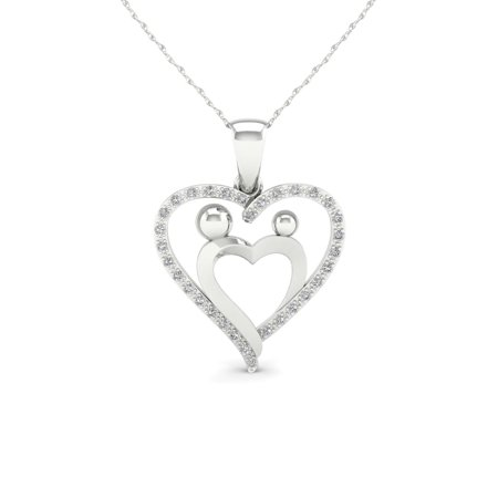 1/10ct TDW Diamond 10K White Gold Mother and Child Heart Pendant Necklace