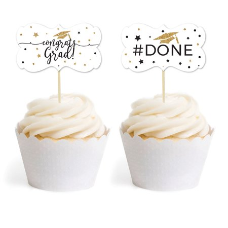 White and Gold Glittering Graduation, Cupcake Topper DIY Party Favors Kit, Fancy Frame Shape, 18-Pack (Diy Graduation Party Favors)