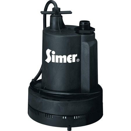 - Simer Geyser II 1/4 HP 1320 GPH Submersible Portable Thermoplastic Utility Pump
