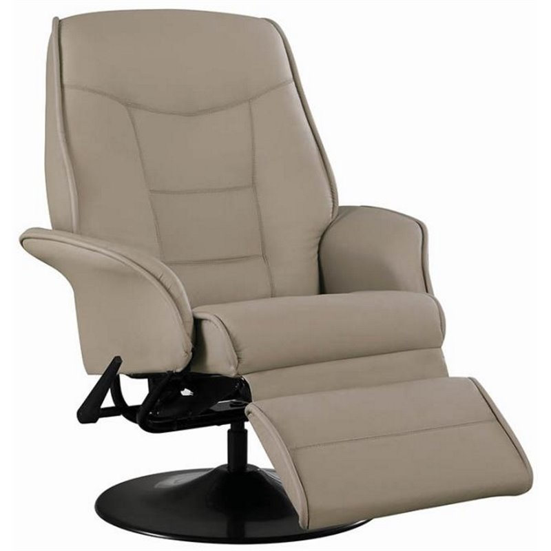 Bowery Hill Faux Leather Swivel Recliner In Beige And