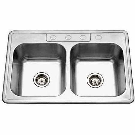 Houzer 3322-8BS4-1 Glowtone Series Topmount Stainless Steel 4-hole 50/50 Double Bowl Kitchen Sink, 8-Inch Deep