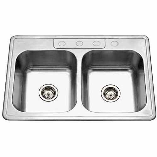 houzer 33228bs41 glowtone series topmount stainless steel double bowl kitchen sink