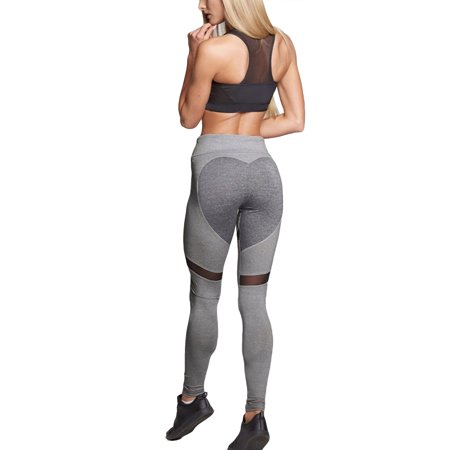 bf44f1ca631200 Sexy Dance - Women Yoga Pants Gray Heart Shape Running Leggings Fitness  High Waist Gym Stretch Sports Trousers Exercise Workout Traning Pants -  Walmart.com