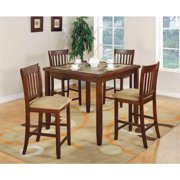 Coaster Company Lucia Square Dinette, Faux marble top/Red Brown Finish