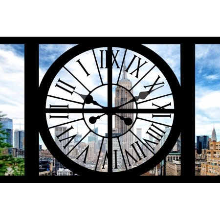 Giant Clock Window - City View with the Empire State and Chrysler Buildings - Manhattan III Print Wall Art By Philippe