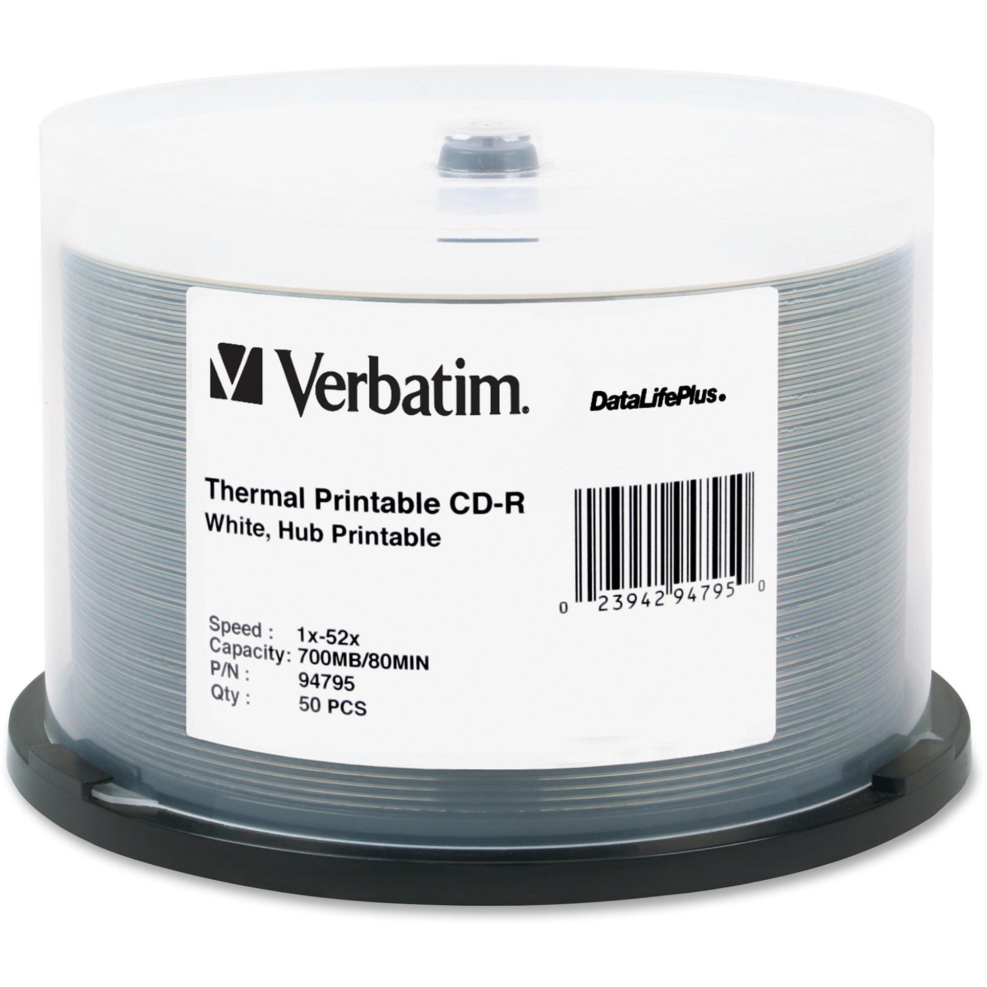 Verbatim, VER94795, Verbatim DataLife Plus White Thermal CD-R, 50, White