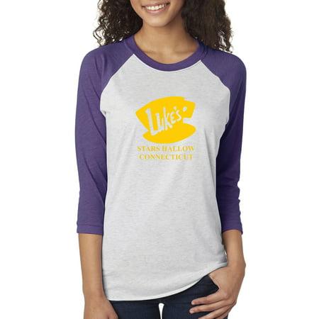 - Luke's Diner Stars Hollow CT Gilmore Girls Womens 3/4 Raglan Sleeve T-Shirt Top