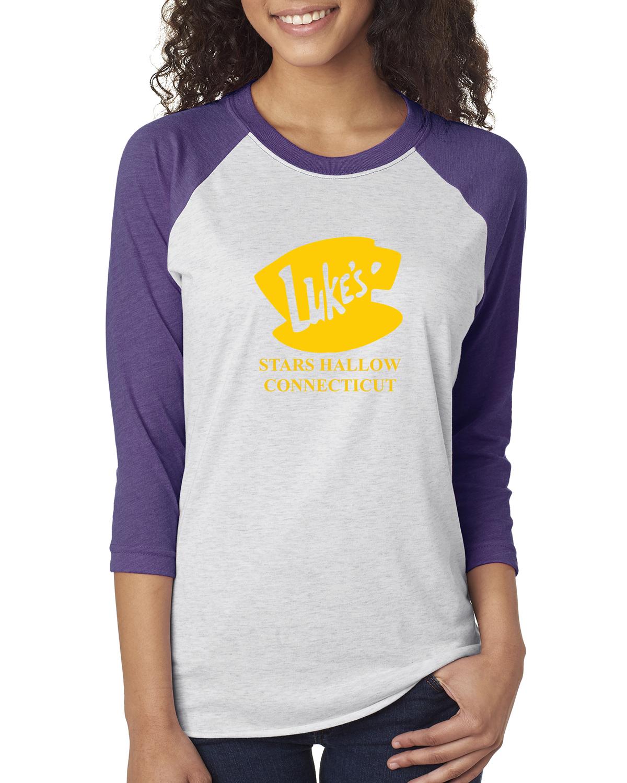 Luke's Diner Stars Hollow CT Gilmore Girls Womens 3/4 Raglan Sleeve T-Shirt Top