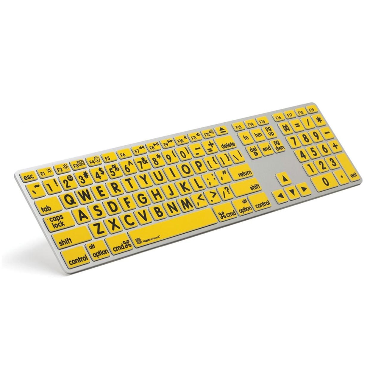 Large Print Keyboard for Mac- Blk Print-Yellow Keys