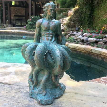Homestyles 21 in. Bronze Patina Octoman Male Mermaid Sitting on Coastal Rock Nautical Beach Garden Extra Large Statue