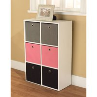 TMS Utility Kids Bookshelf with 6 Fabric Storage Bins, Pink, Black and Grey