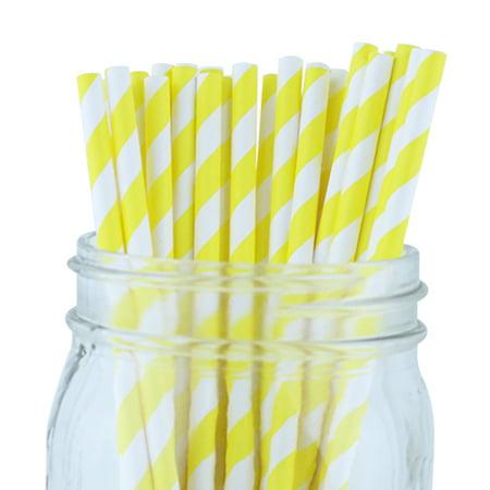 Just Artifacts 100pcs Decorative Striped Paper Straws (Striped, - Paper Straw