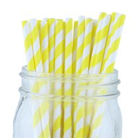 Just Artifacts 100pcs Decorative Striped Paper Straws (Striped, Yellow)
