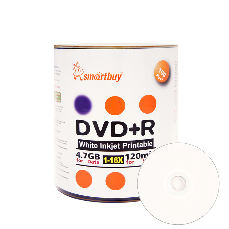 100 Pack Smartbuy 16X DVD+R DVDR 4.7GB White Inkjet Hub Printable Data Video Blank Recordable Disc