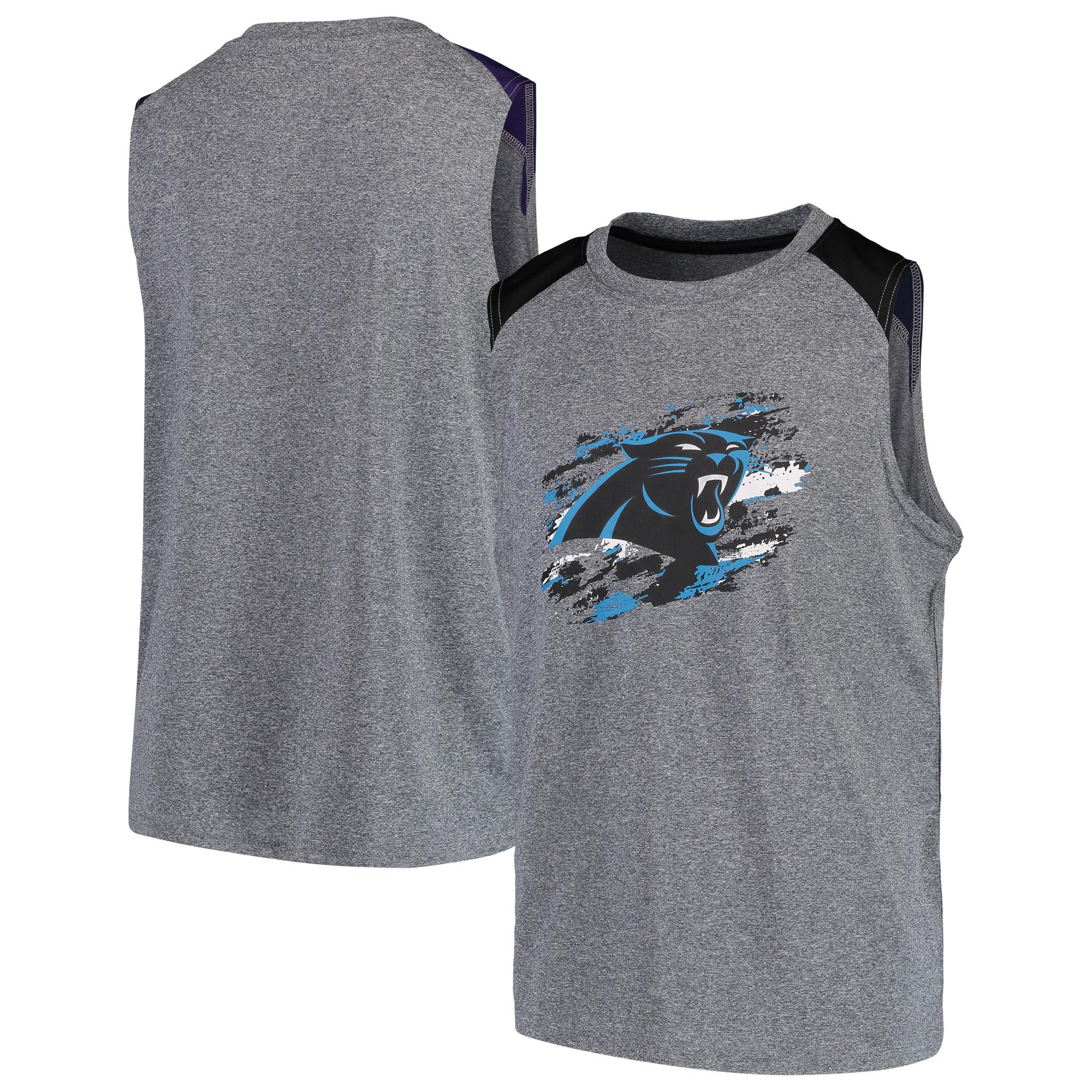Carolina Panthers NFL Pro Line by Fanatics Branded Youth True Colors Sleeveless T-Shirt - Heathered Gray