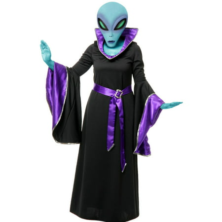 Adult Womens Purple And Black Alien Queen Witch Space Gown Costume (Woman Alien Costume)