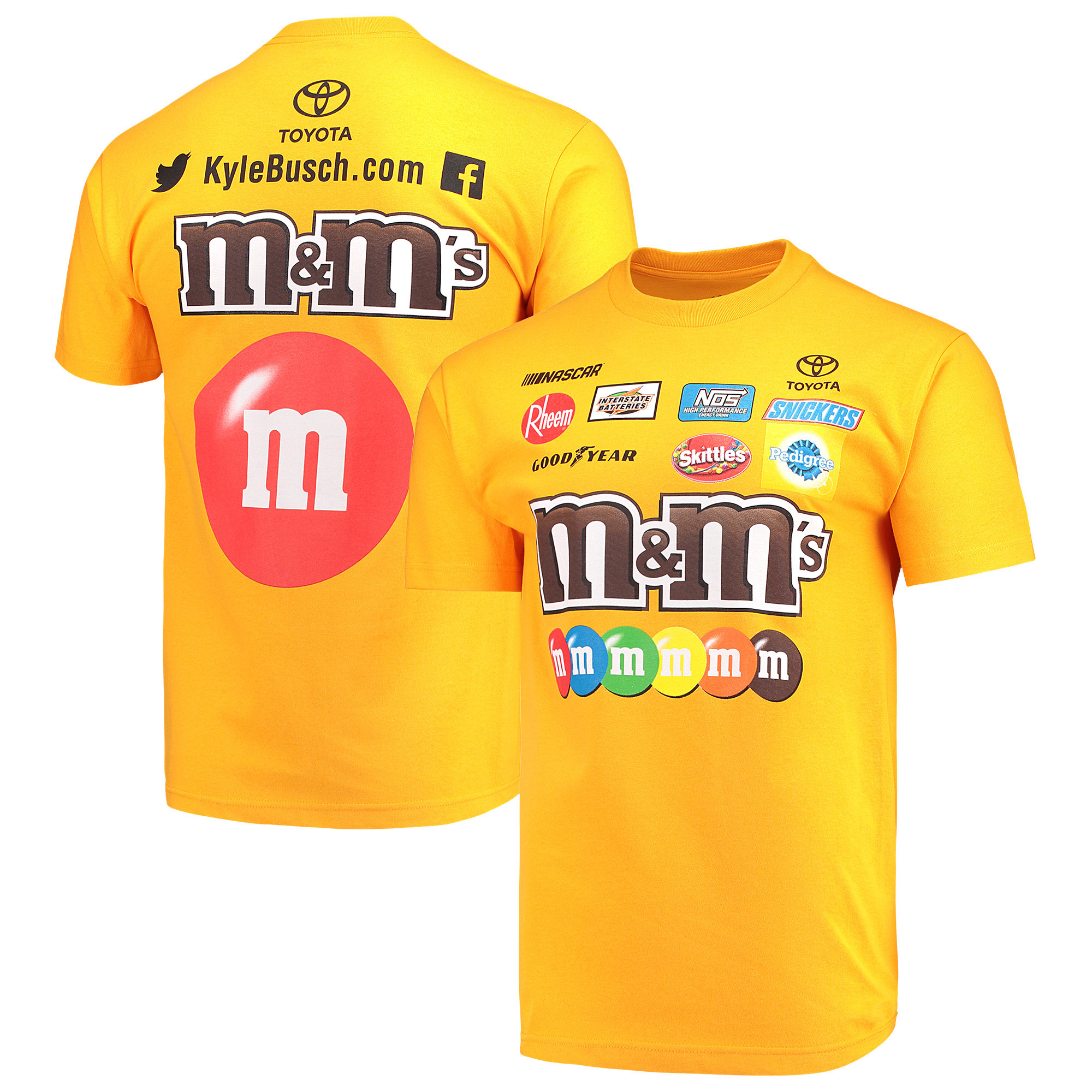 Kyle Busch Joe Gibbs Racing Team Collection M&M's Uniform T-Shirt - Yellow