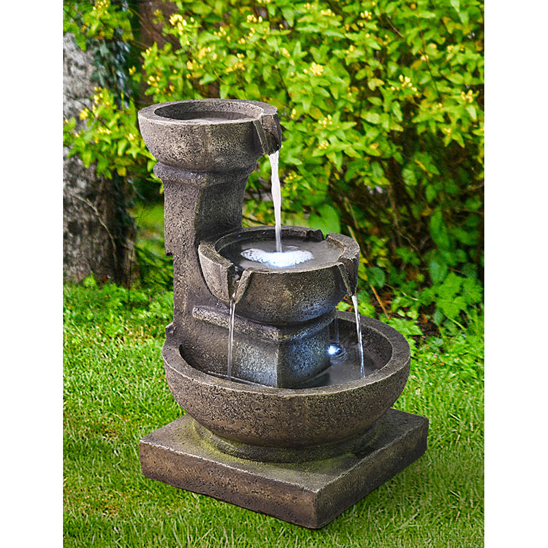 """Outdoor Waterfall Fountain, 16"""" H 3-Tier Home Water Fountain w/LED Light, Soothing and Relaxing Indoor/Outdoor Fountain for Garden & Patio"""