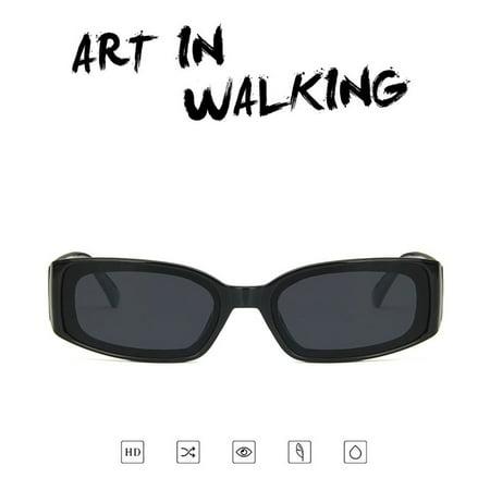 European And American Styles Trends Hd Universal Flat Mirrors Retro Squares Wide Legs Hip Hop Fashion 2185 Sunglasses bright black gray film - image 2 de 8