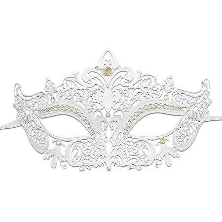 Sparkling White Masquerade Mask with Glitter and Rhinestone Women Venetian  Mask - Walmart.com