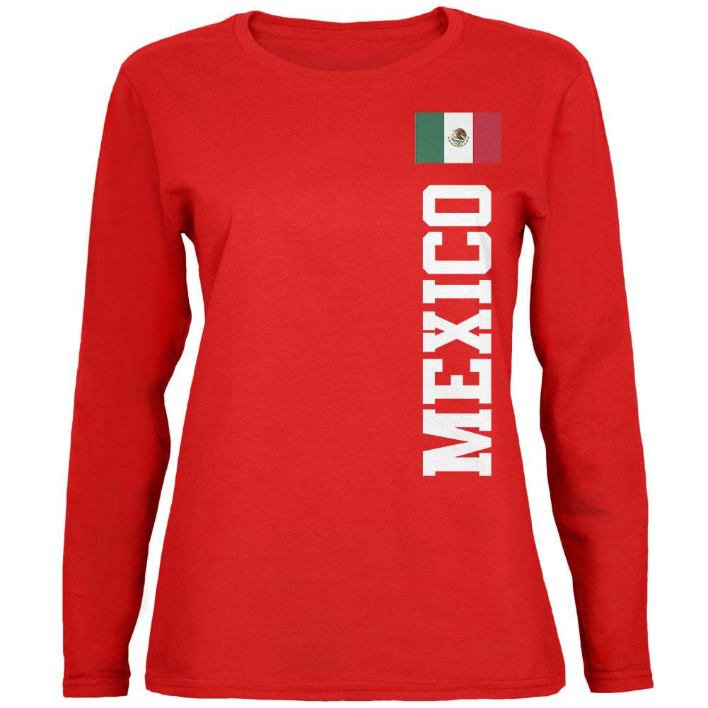 World Cup Mexico Red Womens Long Sleeve T-Shirt by Old Glory