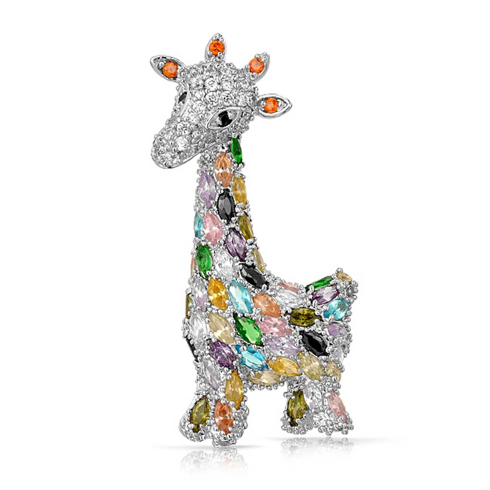 Bling Jewelry Multi Color Cubic Zirconia Giraffe Brooch Animal Pin Rhodium Plated by Bling Jewelry