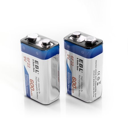 EBL 2-Pack 6F22 9V Battery 600mAh Lithium-ion Rechargeable (Best 9v Rechargeable Battery)