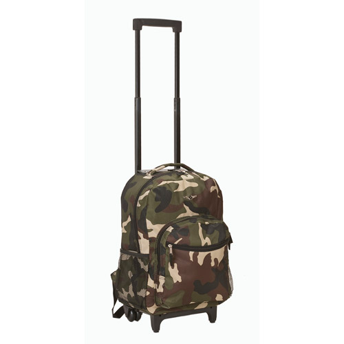 """Rockland Luggage Roadster 17"""" Rolling Backpack, Camo"""