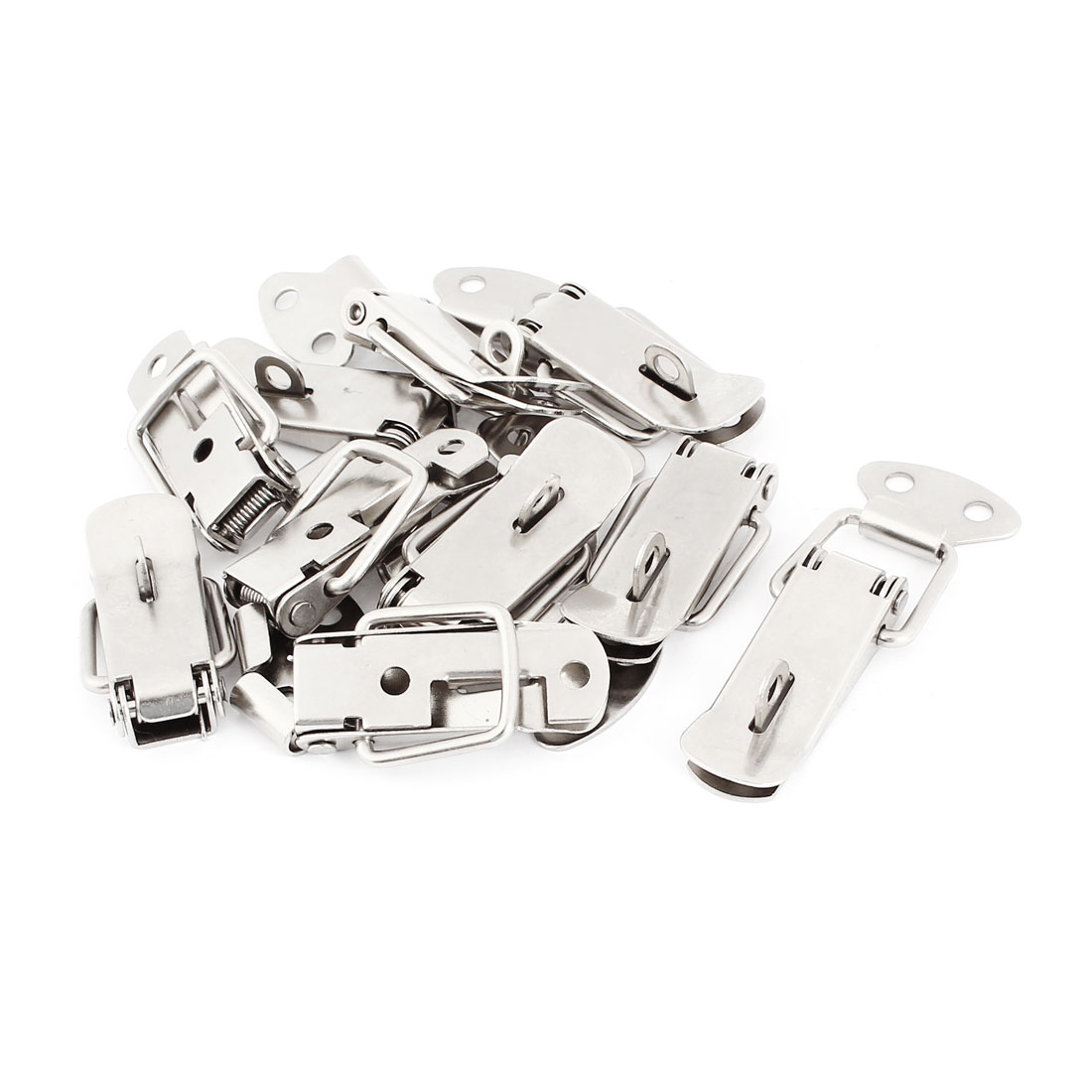 10 Sets Spring Loaded Straight Loop Latch Catch Hasp Padlock Silver Tone