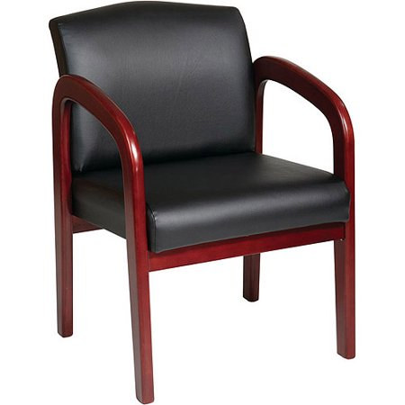 Office Star Work Smart Cherry Finish Wood Guest Chair  Black