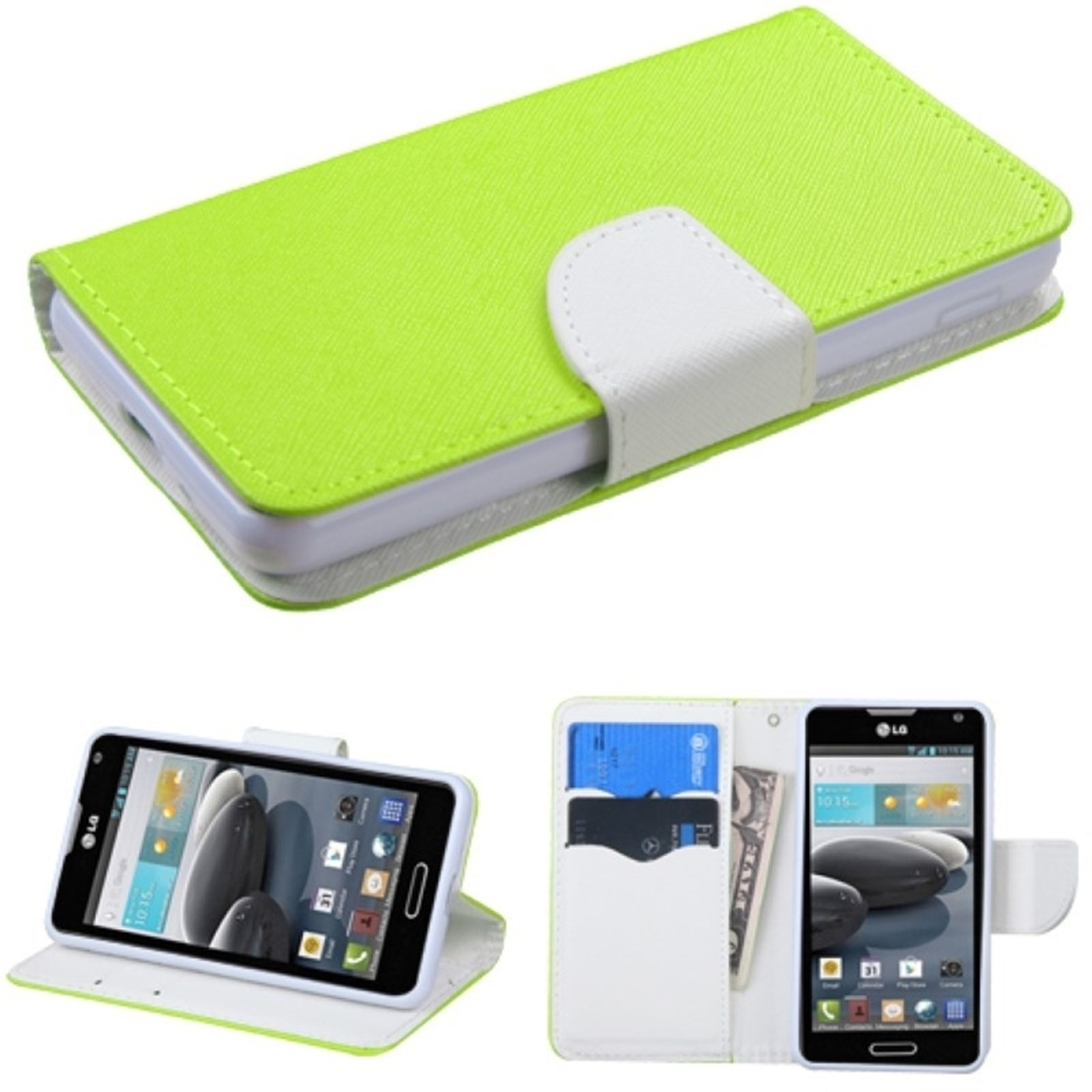 Insten Book-Style Leather Wallet Fabric Stand Case with Card slot For LG Optimus F6 - White