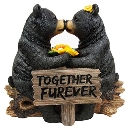"Ebros Romantic Black Bear Couple Kissing by Wooden Log Statue 7"" Tall Whimsical Black Bear Family Together Furever Decorative Figurine"