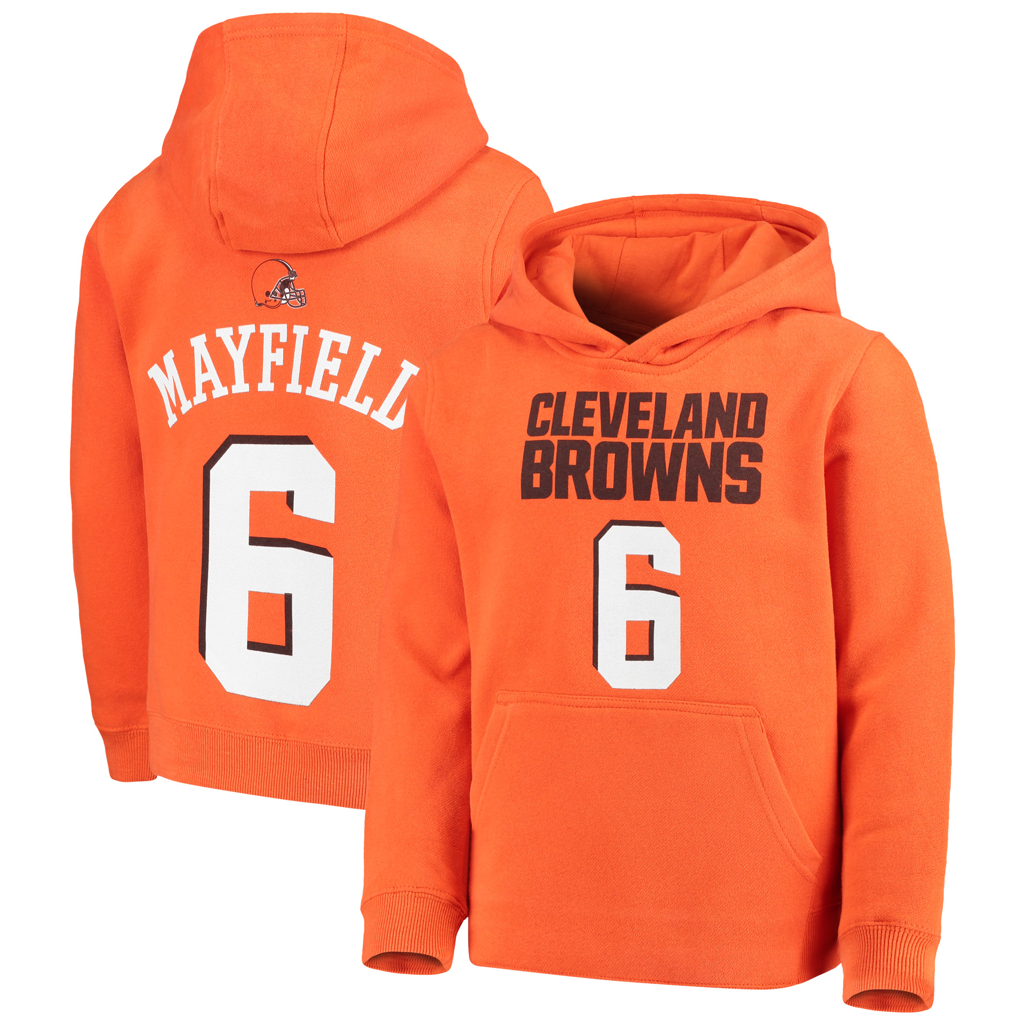 Baker Mayfield Cleveland Browns Youth Mainliner Player Name & Number Fleece Pullover Hoodie - Orange