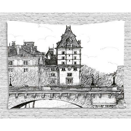 Paris Decor Tapestry View From Pont Neuf Historical French Landmark