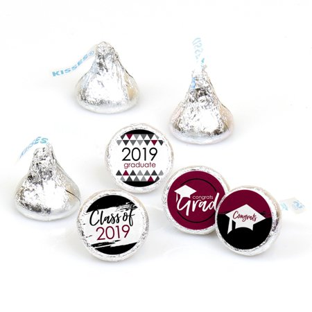Maroon Grad - Best is Yet to Come - Burgundy 2019 Graduation Party Round Candy Sticker Favors - Fit Hershey's Kisses - Kiss Kruise Halloween Party