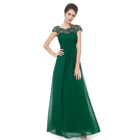 f218e215f4d Ever-Pretty Women s Elegant Floor-Length Lace Neckline Summer Chiffon Wedding  Guest Dresses Prom Ball Gown for Women 09993 (Green 6 US)