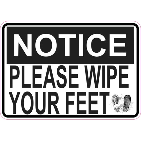 5 x 3.5 Prints Notice Please Wipe Your Feet Magnet Magnetic Sign Magnets Signs