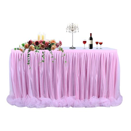 Threaded Ribbon Table Skirt with Tulle Elegant Party Wedding Table Decoration(Long Tulle) Pink - Pink Tutu Table Skirt