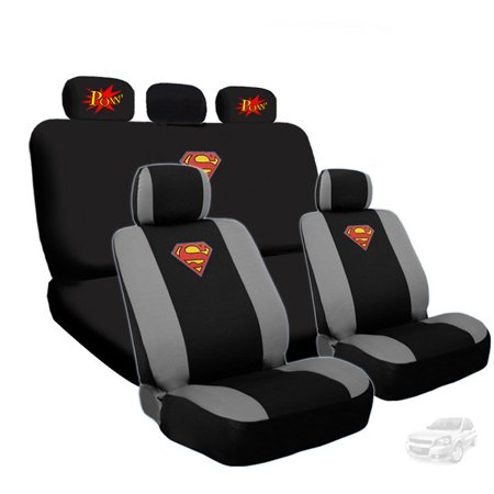 Deluxe Superman Car Seat Covers With 2 Classic POW Logo Headrest Bundled Gift Set Shipping