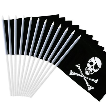 Pirate Jolly Roger Flag - Pirate Stick Flag, Jolly Roger 5x8 inch HandHeld Mini Flag With 12