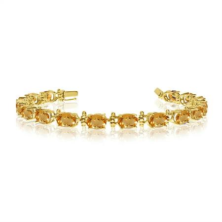 - 14K Yellow Gold Oval Citrine Tennis Bracelet