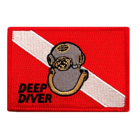 Deep Diver Mark V Helmet Embroidered Iron-on Scuba Diving Flag Patch