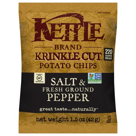 Kettle Brand Potato Chips, Krinkle Cut Salt and Fresh Ground Pepper, 1.5 Oz, 24 Ct