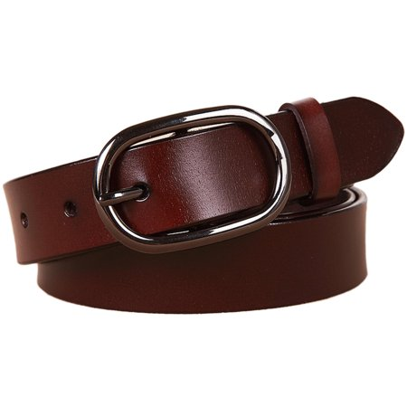 Chocolate Brown Leather Belt (Women's Classic Metal Buckle Handcrafted Genuine Leather Jean Belt (Sytle 3w018))